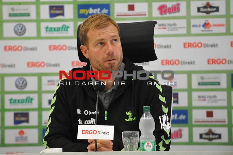 15.09.2013, Trolli-Arena, Fuerth, GER, 2.FBL, 2. Bundesliga, SpVgg Greuther Fuerth vs. . Im Bild:<br /> <br /> Trainer Frank Kramer (Greuther Fuerth) bei der Pressekonferenz nach dem Spiel. Portrait / Portraet<br /> <br /> Mimik, Emotion<br /> Foto &not;&copy; nph / Merz