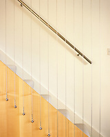 A close up the wire curtain used to secure the open plan staircase in this contemporary London home