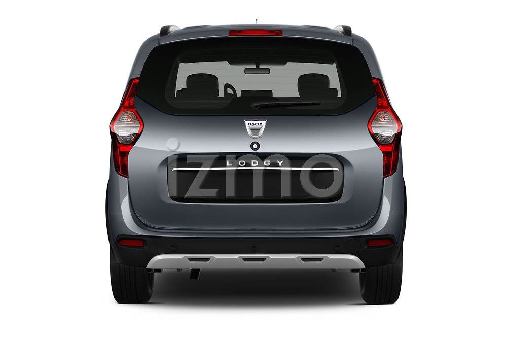 Straight rear view of a 2017 Dacia Lodgy Stepway 5 Door Mini Van stock images
