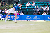 June 14th 2017, Nottingham, England; ATP Aegon Nottingham Open Tennis Tournament day 5;  Marc Polmans of Australia takes to the air as he serves to Lloyd Glasspool of Great Britain on centre court