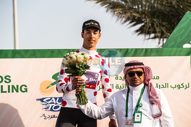 Angel Fuentes Paniego (ESP) Burgos-BH retains the Polka Dot Jersey at the end of Stage 3 of the Saudi Tour 2020 running 119km from King Saud University to Al Bujairi, Saudi Arabia. 6th February 2020. <br /> Picture: ASO/Kåre Dehlie Thorstad | Cyclefile<br /> All photos usage must carry mandatory copyright credit (© Cyclefile | ASO/Kåre Dehlie Thorstad)