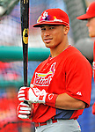 7 March 2012: St. Louis Cardinals infielder Kolten Wong awaits his turn in the batting cage prior to a game against the Washington Nationals at Space Coast Stadium in Viera, Florida. The teams battled to a 3-3 tie in Grapefruit League Spring Training action. Mandatory Credit: Ed Wolfstein Photo
