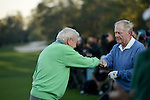 AUGUSTA, GA: APRIL 10 - Arnold Palmer shakes hands with Jack Nicklaus before teeing off the first tee during the first round of the 2014 Masters held in Augusta, GA at Augusta National Golf Club on Thursday, April 10, 2014. (Photo by Donald Miralle)