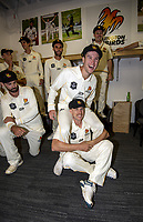 Lauchie Johns and Logan Van Beek. The Wellington Firebirds celebrate winning the 2019-2020 Plunket Shield at Basin Reserve in Wellington, New Zealand on Thursday, 19 March 2020. Photo: Dave Lintott / lintottphoto.co.nz