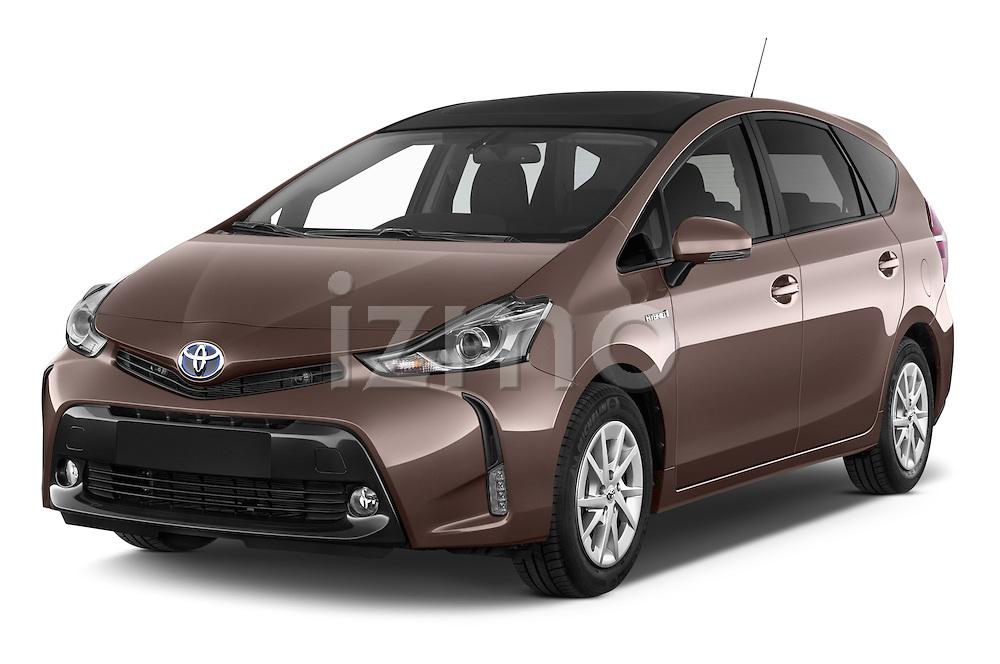 2015 Toyota Grand Prius+ 5 Door Mini Van angular front stock photos of front three quarter view