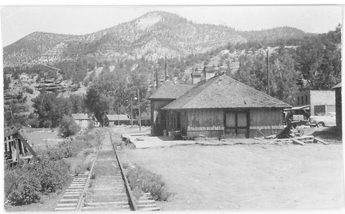 South end of the RGS Placerville depot.<br /> RGS  Placerville, CO  ca. 1951-1952