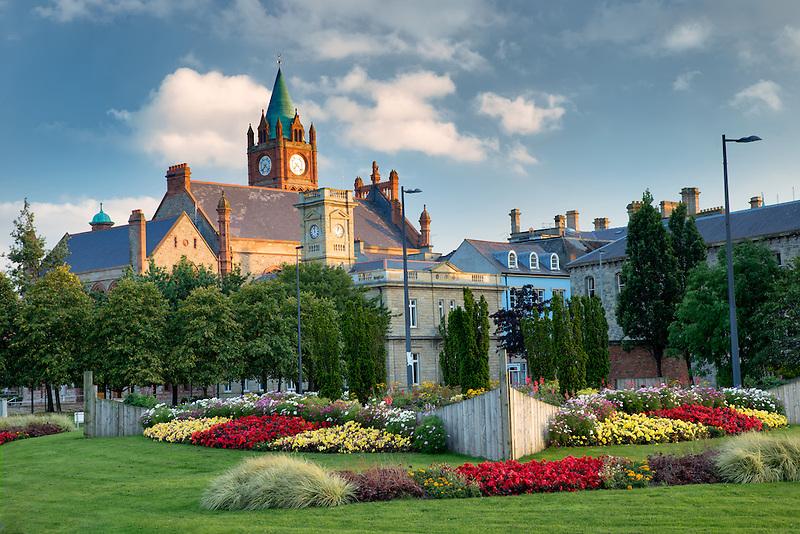 Guildhall with flower garden. Derry, Northern Ireland