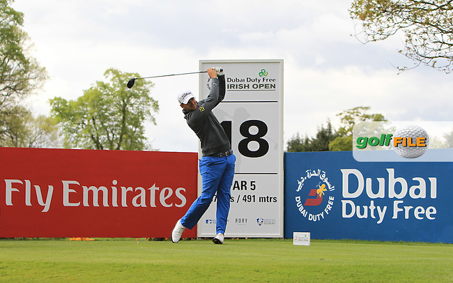 Bernd Wiesberger (AUT) on the 18th tee during Wednesday's Pro-Am round of the Dubai Duty Free Irish Open presented  by the Rory Foundation at The K Club, Straffan, Co. Kildare<br /> Picture: Golffile | Thos Caffrey<br /> <br /> All photo usage must carry mandatory copyright credit <br /> (&copy; Golffile | Thos Caffrey)
