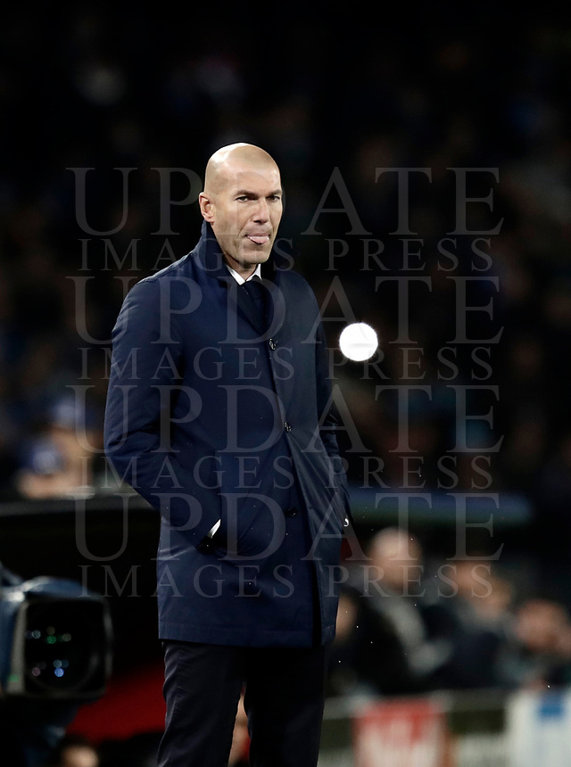 Football Soccer: UEFA Champions League Round of 16 second leg, Napoli-Real Madrid, San Paolo stadium, Naples, Italy, March 7, 2017. <br /> Real Madrid's Zinedine Zidane during the Champions League football soccer match between Napoli and Real Madrid at the San Paolo stadium, 7 March 2017. <br /> Real Madrid won 3-1 to reach the quarter-finals.<br /> UPDATE IMAGES PRESS/Isabella Bonotto