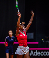 Den Bosch, The Netherlands, Februari 9, 2019,  Maaspoort , FedCup  Netherlands - Canada, second match : Francoise Abanda celebrates, she puts Canada in a comfortable 2-0 lead<br /> Photo: Tennisimages/Henk Koster