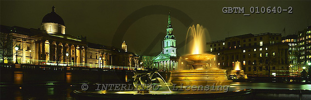 Tom Mackie, LANDSCAPES, panoramic, photos, Trafalgar Square at Night, London, England, GBTM010640-2,#L#