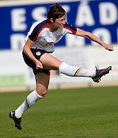 Megan Rapinoe kicks the ball during the last group stage game in the Algarve Cup.  The USWNT defeated Norway, 1-0, in Ferreiras, Portugal. Photo by Brad Smith/ isiphotos.com