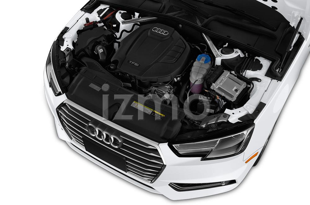 Car stock 2018 Audi A4 Premium 4 Door Sedan engine high angle detail view