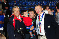 Darren Atkins of England U20 poses for a photo with his family after the match. World Rugby U20 Championship Final between England U20 and Ireland U20 on June 25, 2016 at the AJ Bell Stadium in Manchester, England. Photo by: Patrick Khachfe / Onside Images