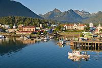 Commercial trolling vessel Sultan passes through Sitka Channel, Sitka, Alaska.