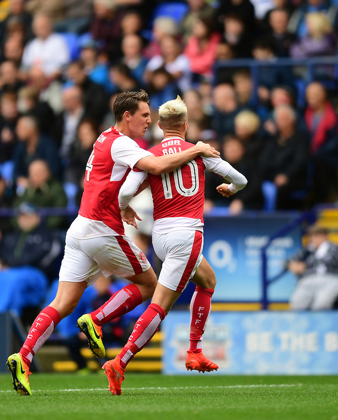 Fleetwood Town's David Ball, right, celebrates scoring the opening goal with team-mate Eggert Jonsson<br /> <br /> Photographer Chris Vaughan/CameraSport<br /> <br /> Football - The EFL Sky Bet League One - Bolton Wanderers v Fleetwood Town - Saturday 20 August 2016 - Macron Stadium - Bolton<br /> <br /> World Copyright &copy; 2016 CameraSport. All rights reserved. 43 Linden Ave. Countesthorpe. Leicester. England. LE8 5PG - Tel: +44 (0) 116 277 4147 - admin@camerasport.com - www.camerasport.com