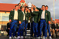 Team USA winners of the Walker Cup at the Walker Cup Award ceremony at Royal Liverpool Golf CLub, Hoylake, Cheshire, England. 08/09/2019.<br /> Picture Thos Caffrey / Golffile.ie<br /> <br /> All photo usage must carry mandatory copyright credit (© Golffile | Thos Caffrey)