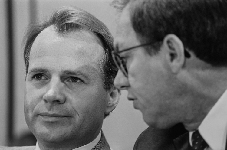 Rep. David Dreier, R-Calif., and Rep. Wayne Allard, R-Colo., at the Joint Committee on the Organization of Congress, on June 24, 1993. (Photo by Maureen Keating/CQ Roll Call via Getty Images)