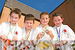 Ethan Coffey Beaufort, Shane Corkery, Liam Nideggen Milltown and Sean Collins Muckross who competed in the County Karate championships in Killorglin Sportscentre on Saturday...