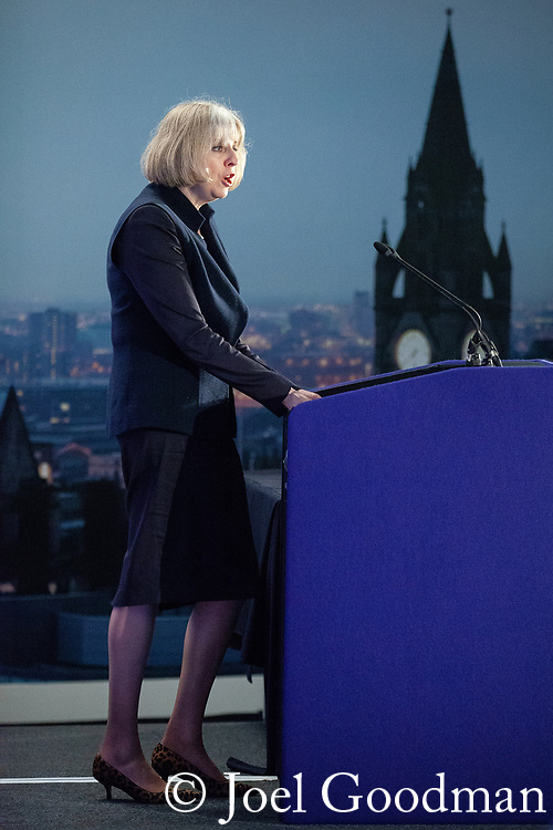 """© Joel Goodman - 07973 332324 . 22/05/2012 .  Manchester , UK . Home Secretary THERESA MAY speaks on a panel at the conference . The Association of Chief Police Officers ( ACPO ) """" Leading Change in Policing Conference """" , at the Manchester Central Convention Centre . Photo credit: Joel Goodman"""