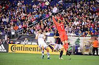 September 9, 2017 - Foxborough, Mass: New England Revolution goalkeeper Cody Cropper (1) protects the net during the MLS game between the Montreal Impact and the New England Revolution held at Gillette Stadium in Foxborough Massachusetts. Revolution defeat Impact 1-0. Eric Canha/CSM