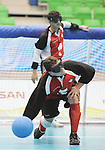 November 18 2011 - Guadalajara, Mexico:   Bruno Hache of Team Canada makes a throw in the Goalball Bronze Medal Match in the San Rafael Park Sports Complex at the 2011 Parapan American Games in Guadalajara, Mexico.  Photos: Matthew Murnaghan/Canadian Paralympic Committee