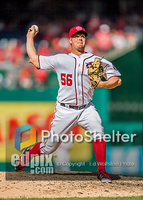 30 April 2017: Washington Nationals pitcher Joe Blanton on the mound to start the 8th inning against the New York Mets at Nationals Park in Washington, DC. The Nationals defeated the Mets 23-5, with the Nationals setting several individual and team records, in the third game of their weekend series. Mandatory Credit: Ed Wolfstein Photo *** RAW (NEF) Image File Available ***