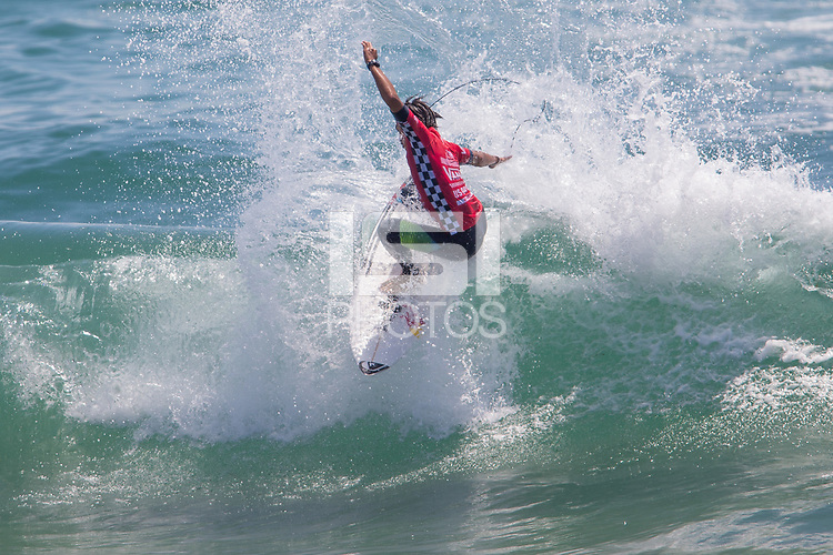 Huntington Beach, CA - Sunday August 06, 2017: Kanoa Igarashi during a World Surf League (WSL) Qualifying Series (QS) Championship Final heat in the 2017 Vans US Open of Surfing on the South side of the Huntington Beach pier.
