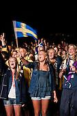 Swedish scouts is enjoying the closing ceremony. Photo: Audun Ingebrigtsen / Scouterna