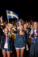 Swedish scouts is enjoying the closing ceremony. Photo: Audun Ingebrigtsen / Scouterna