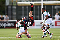Adam Warren of the Dragons is upended in a tackle. Pre-season friendly match, between Ealing Trailfinders and the Dragons on August 11, 2018 at the Trailfinders Sports Ground in London, England. Photo by: Patrick Khachfe / Onside Images