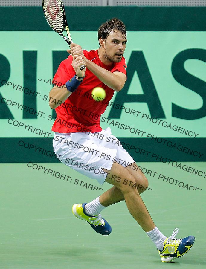 Davis Cup 2014 first round<br /> Srbija v Hrvatska<br /> Novak Djokovic (SRB) v Mate Delic (CRO)<br /> Mate Delic in action<br /> Kraljevo, 06.03.2015.<br /> Foto: Srdjan Stevanovic/Starsportphoto.com&copy;