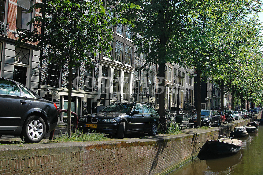 Raw of houses along the canal in Amsterdam