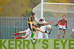 Crokes Daithi Casey gets in his shott despite Ciaran McGrath Loughmore/Castleiney attempted block during the Munster Club championships in Killarney on Saturday