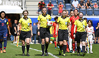 20190601 - LEUVEN , BELGIUM : referees pictured with Dutch Fijke Hoogendijk , Dutch Vivian Peeters , Belgian Viki De Cremer and Dutch Bianca Scheffers during the female soccer game between the Belgian Red Flames and Thailand , a friendly game as a preparation for Thailand for the World Championship in France 2019, Saturday 1 th June 2019 at OHL Stadion Den Dreef in Leuven , Belgium. PHOTO SPORTPIX.BE | DAVID CATRY
