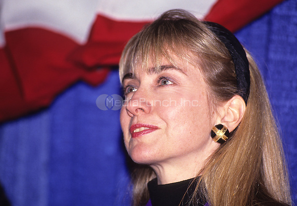 Hillary Rodham Clinton, wife of Governor Bill Clinton (Democrat of Arkansas), attends a rally for her husband at Hesser Business College in Manchester, New Hampshire on February 17, 1992.  The Clintons were campaigning in advance of New Hampshire's &quot;First in the Nation&quot; presidential primary.<br /> Credit: Ron Sachs / CNP/MediaPunch