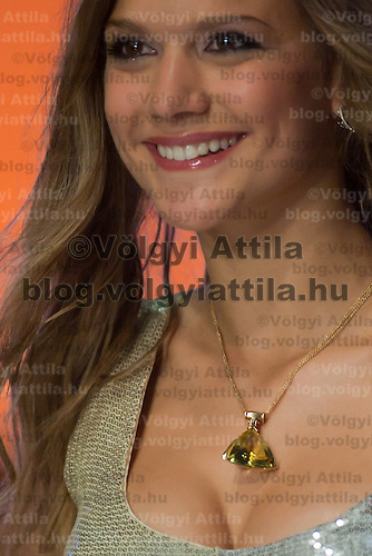 Contestant Fanni Weisz participates the Beauty Queen live TV show hosting the joint beauty contests Miss World Hungary, Miss Universe Hungary and Miss Earth Hungary, held in Hungary's tv2 television headquarter in Budapest, Hungary on July 14, 2011. ATTILA VOLGYI