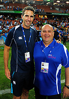 Referee Craig Joubert (left) and timing co-ordinator Brian Ley on day two of the 2018 HSBC World Sevens Series Hamilton at FMG Stadium in Hamilton, New Zealand on Saturday, 3 February 2018. Photo: Dave Lintott / lintottphoto.co.nz