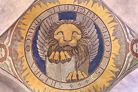 Lion, symbolizing Mark the Evangelist, painted cupola of the nave, by Raymond Feuillatte, 20th century, Nanterre Cathedral (Cathédrale Sainte-Geneviève-et-Saint-Maurice de Nanterre), 1924 - 1937, by architects Georges Pradelle and Yves-Marie Froidevaux, Nanterre, Hauts-de-Seine, France. Picture by Manuel Cohen
