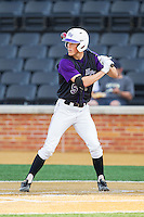 Kyle Brandenburg (5) of the High Point Panthers at bat against the Wake Forest Demon Deacons at Wake Forest Baseball Park on April 2, 2014 in Winston-Salem, North Carolina.  The Demon Deacons defeated the Panthers 10-6.  (Brian Westerholt/Four Seam Images)
