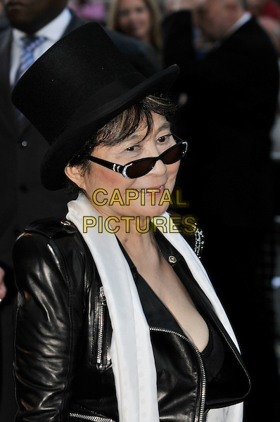 YOKO ONO.The GQ Men Of The Year Awards 2009 held at the Royal Opera House, Covent Garden, London, England..8th September 2009.headshot portrait black leather top hat white scarf sunglasses shades .CAP/PL.©Phil Loftus/Capital Pictures.