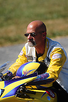Sept. 5, 2010; Clermont, IN, USA; NHRA pro stock motorcycle rider Wesley Wells during qualifying for the U.S. Nationals at O'Reilly Raceway Park at Indianapolis. Mandatory Credit: Mark J. Rebilas-