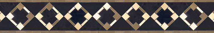 "6 3/8"" Kubuni border, a waterjet mosaic shown in honed Nero Marquina and brass, by Joni Vanderslice as part of the J. Banks  Collection for New Ravenna."
