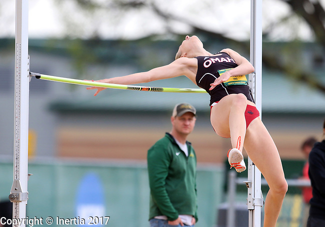 FARGO, ND - MAY 12: Stephanie Ahrens from Nebraska Omaha clears the bar during the women's high jump at the 2017 Summit League Outdoor Championship Friday afternoon at Ellig Sports Complex in Fargo, ND. (Photo by Dave Eggen/Inertia)