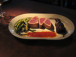 Fine dining at Philadelphia Fish & Co restaurant.  Tuna entree..Philadelphia, Pennsylvania, PA USA.  Photo copyright Lee Foster, 510-549-2202, lee@fostertravel.com, www.fostertravel.com.  Photo 342-50043