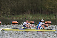 Caversham. Berkshire. UK<br /> Men's pair, James RUDKIN and Lewis MCCUE, competing at the 2016 GBRowing U23 Trials at the GBRowing Training base near Reading, Berkshire.<br /> <br /> Monday  11/04/2016 <br /> <br /> [Mandatory Credit; Peter SPURRIER/Intersport-images]