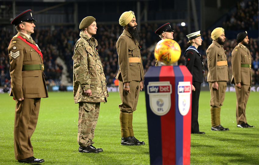 Members of the armed forces were present at the game for Remembrance fixture<br /> <br /> Photographer David Shipman/CameraSport<br /> <br /> The EFL Sky Bet Championship - West Bromwich Albion v Leeds United - Saturday 10th November 2018 - The Hawthorns - West Bromwich<br /> <br /> World Copyright © 2018 CameraSport. All rights reserved. 43 Linden Ave. Countesthorpe. Leicester. England. LE8 5PG - Tel: +44 (0) 116 277 4147 - admin@camerasport.com - www.camerasport.com