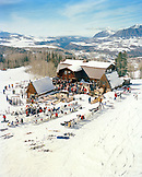 USA, Colorado, Telluride, people eating at Gorrono Ranch Restaurant, Telluride Ski Resort