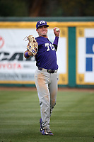 Austen Wade (8) of the TCU Horned Toads throws between innings of a game against the Long Beach State Dirtbags  at Blair Field on March 14, 2017 in Long Beach, California. Long Beach defeated TCU, 7-0. (Larry Goren/Four Seam Images)