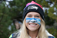 Hawk Girl, Seattle Seahawks 12th Man Fans, Playoff Rally, Renton, WA, USA.